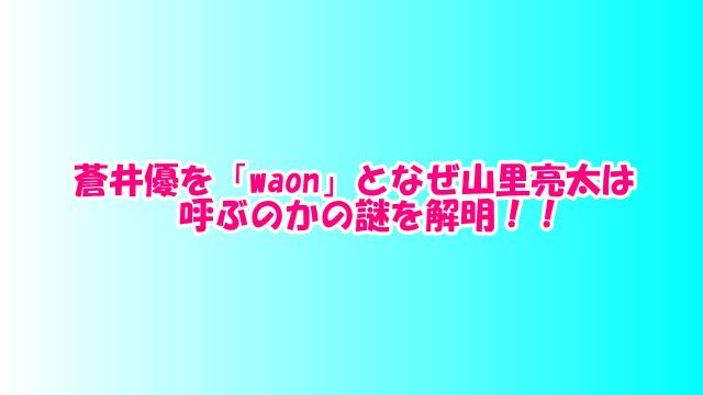 蒼井優を「waon」となぜ山里亮太は呼ぶのかの謎を解明!!