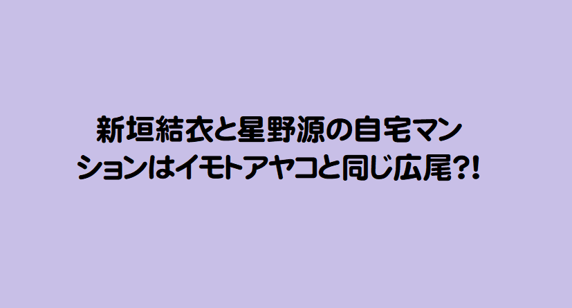 新垣結衣と星野源の自宅マンションはイモトアヤコと同じ広尾?!
