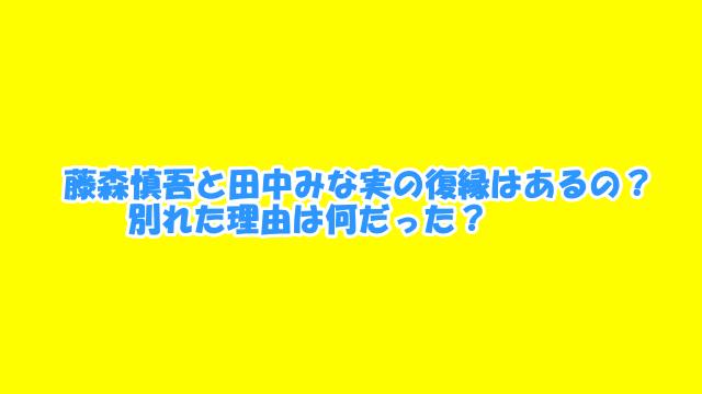 藤森慎吾と田中みな実の復縁はあるの?別れた理由は何だった?