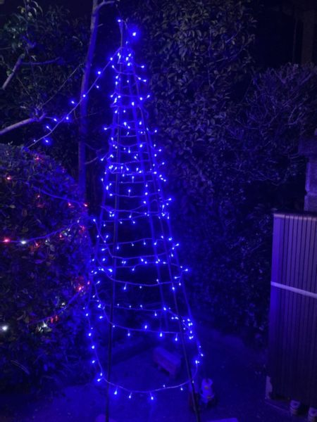 手作りツリーの夜間点灯の状態